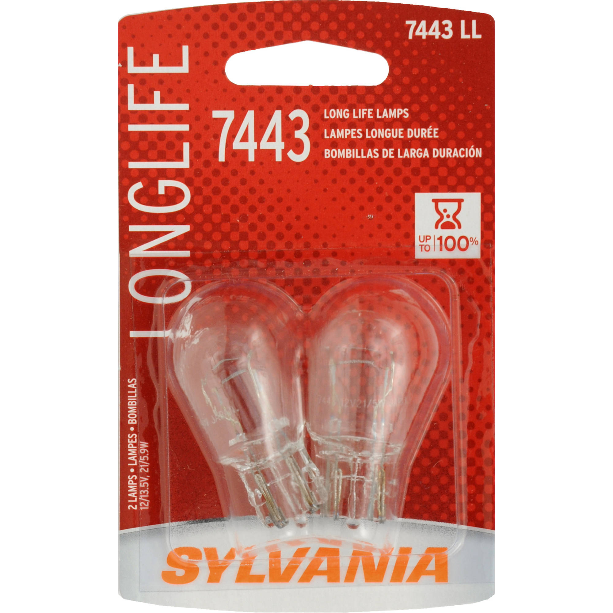 Sylvania 7443 Long-Life Miniature Bulb, Twin Pack