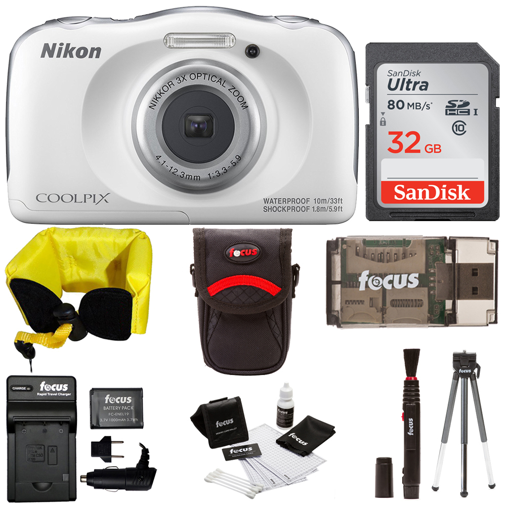 Nikon COOLPIX W100 Waterproof Digital Camera (White) + 32...