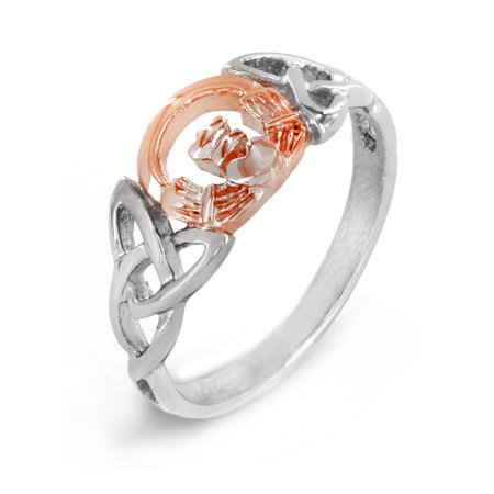 Celtic Trinity Knot Claddagh Rose Gold Plated Stainless Steel - Claddagh Rose Gold Ring