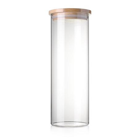 STACK UP Transparent Food Storage Canister - Safe Clear Borosilicate Glass Jar with Wooden Lid - Perfect Container for Kitchen Organization - Keeps Food Dry and Fresh - Cylinder, Capacity 54.1 fl oz.