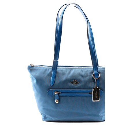 Coach NEW Blue Peacock Nylon Zip Top Women's Shoulder Tote Handbag Purse