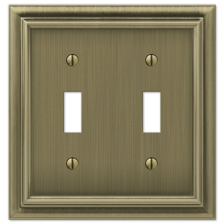 Amerelle 94TTBB Continental Cast Metal Wallplate with 2 Toggle, Brushed -