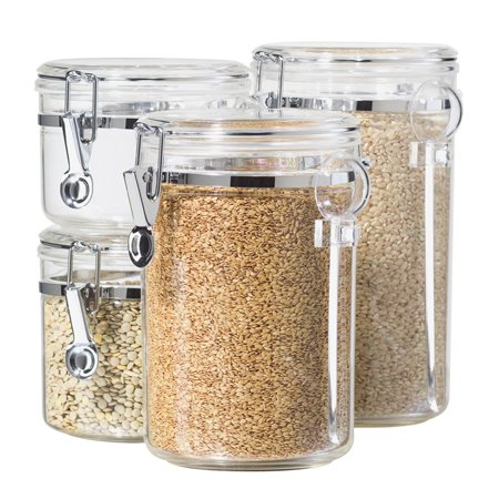 Small Kitchen Canister (Oggi Acrylic Canister Set with Spoons (4 Pieces))