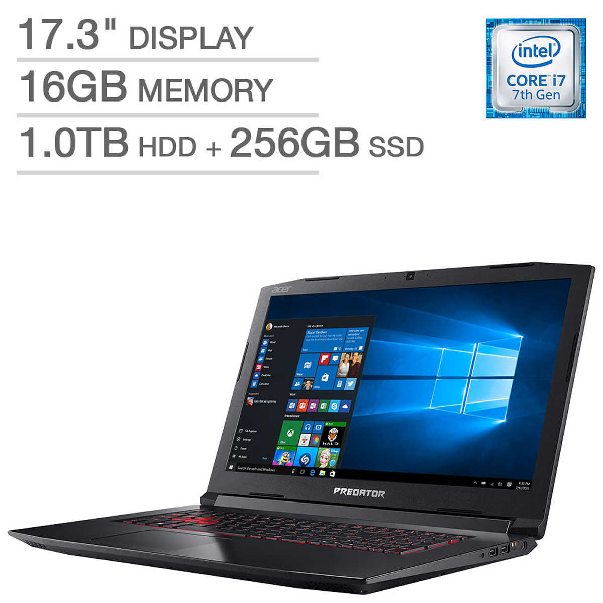 Acer Predator Helios 300 Gaming Laptop: Core i7-7700HQ, 16GB RAM, 256GB SSD + 1TB HDD, Nvidia 1060 6GB Graphics by Acer