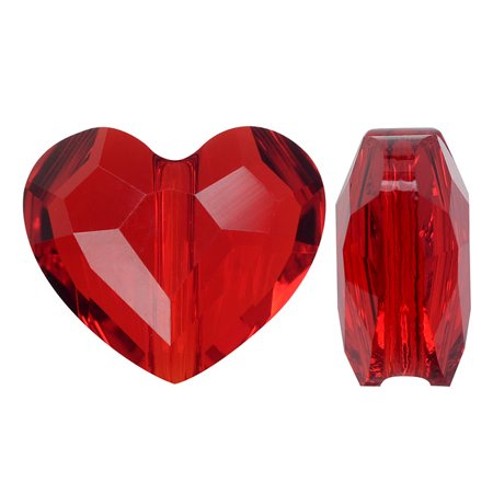 Swarovski Crystal, #5741 Love Heart Bead 8mm, 2 Pieces, Light Siam