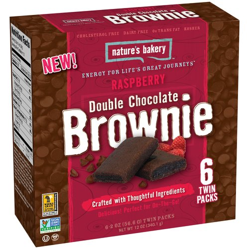 Nature's Bakery Raspberry Double Chocolate Brownies, 2 oz, 6 count