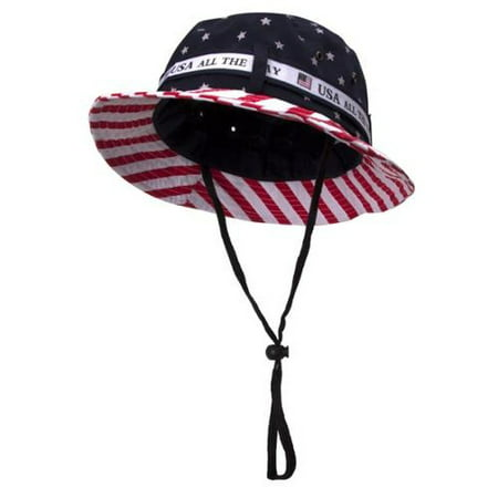 Cotton Twill USA Flag Bucket Hat USA All The Way Boonie