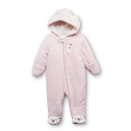 603f3eb871d6 Little Wonders - Infant Girls Plush Pink Polar Bear Snowsuit Baby ...