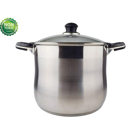 20 QT Stainless Steel High Stock Stew Pasta Pot With Non-stick Encapsulated Bottom With Riveted Handle, Dishwasher Safe-Heavy-duty Bottom for Efficient Heat Distribution-12 X 10