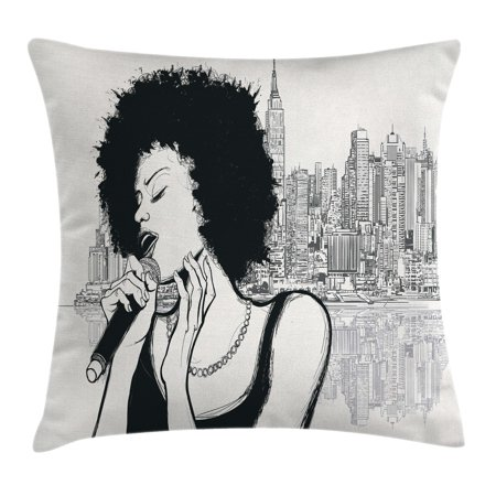 Afro Decor Throw Pillow Cushion Cover, American Jazz Music Girl Performing in front of New York Manhattan Illustration, Decorative Square Accent Pillow Case, 16 X 16 Inches, Black Grey, by Ambesonne