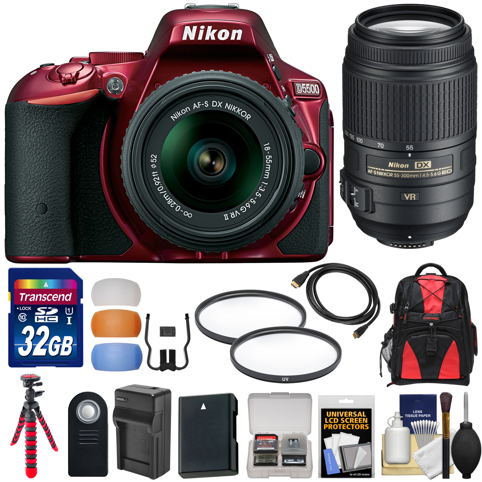 Nikon D5500 Wi-Fi Digital SLR Camera & 18-55mm G VR DX II (Red) with 55-300mm VR Lens + 32GB Card + Backpack + Battery & Charger + Flex Tripod + Kit
