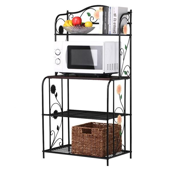 Yaheetech Metal Bakers Rack 4 Tiers Metal Storage Planter Potted Plants Bakers Shoe Rack Kitchen Bathroom Corner Organizer Black
