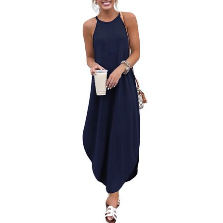 Womens Sleeveless Spaghetti Strap Solid Maxi Long Dresses Comfy Sundress