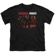 Trevco Criminal Minds-The Crew - Short Sleeve Youth 18-1 Tee - Black, Extra Large