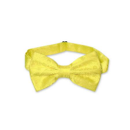 Yellow Bow Tie (Vesuvio Napoli BOWTIE Yellow Paisley Color Men's Bow Tie for Tuxedo or)