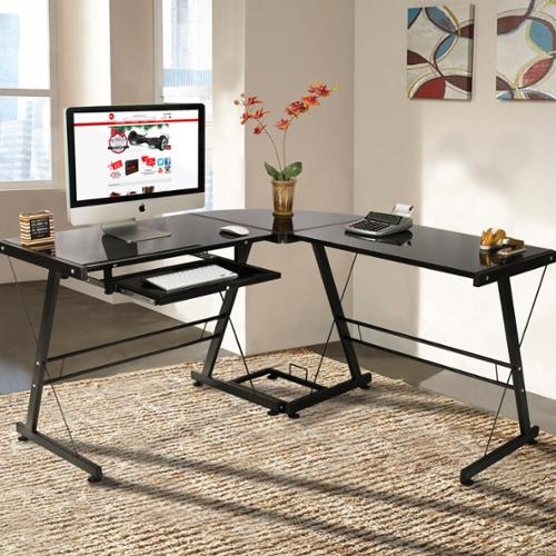 L-Shape Computer Desk PC Glass Laptop Table Workstation Corner Home Office Black