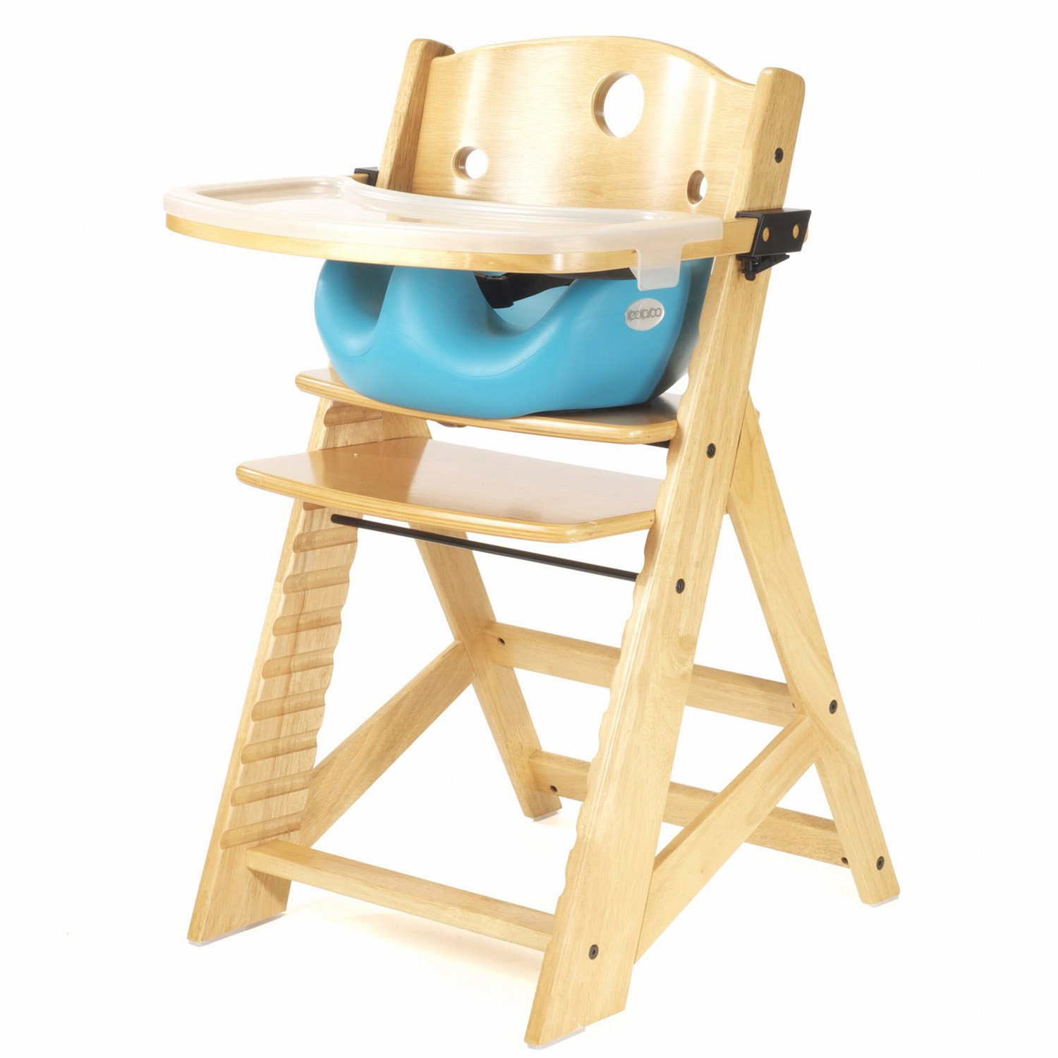 Keekaroo Height Right High Chair Natural with Aqua Infant Seat & Tray by Keekaroo