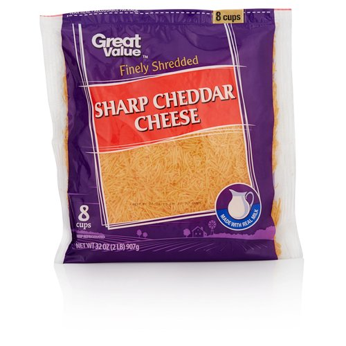 Great Value Finely Shredded Sharp Cheddar Cheese, 32 oz