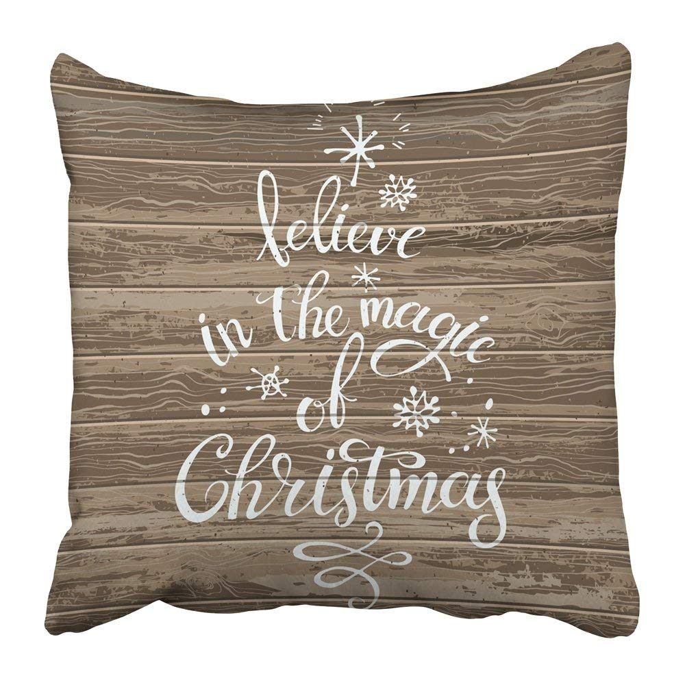 BPBOP Brown Believe in the Magic of Christmas Hand Written Calligraphic Phrase Form Tree on Wood White Pillowcase Pillow Cushion Cover 20x20 inch