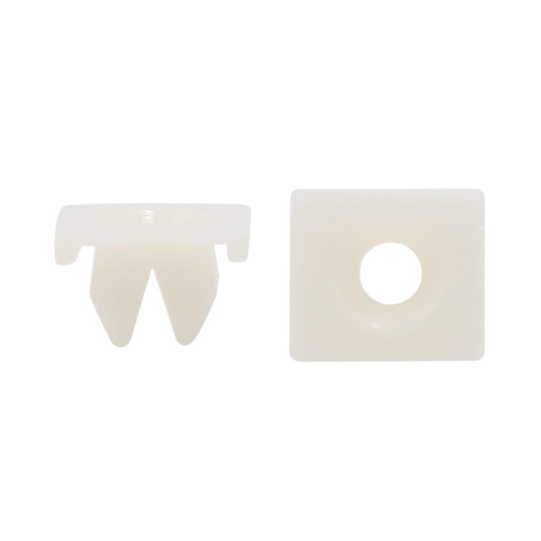 30Pcs Universal White Plastic Rivet Car Trim Panel Hood Fastener 11 x 11mm Hole
