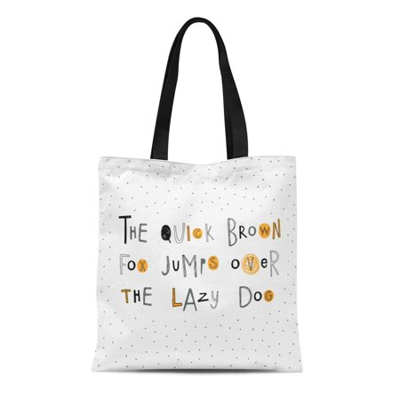 ASHLEIGH Canvas Tote Bag the Quick Brown Fox Jumps Over Lazy Dog Doodle Reusable Shoulder Grocery Shopping Bags