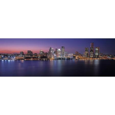 Detroit skyline at dusk, Wayne County, Michigan, USA Print Wall Art