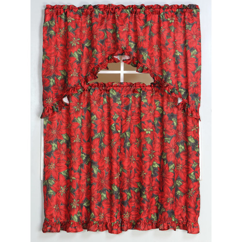 Kashi Home Poinsettia Window Treatment Set by Kashi Home