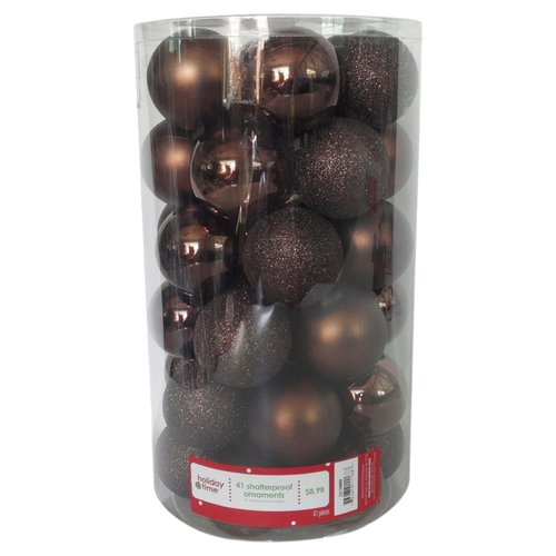 Holiday Time 60mm Round Brown Shatterproof Ornaments, Set of 41