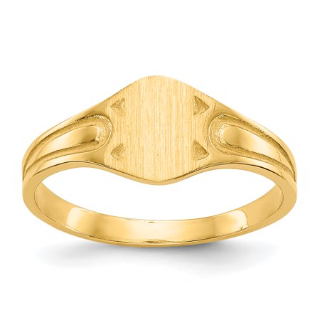 14K Yellow Gold 4 MM Children's Engravable Signet Ring, Size 4.5