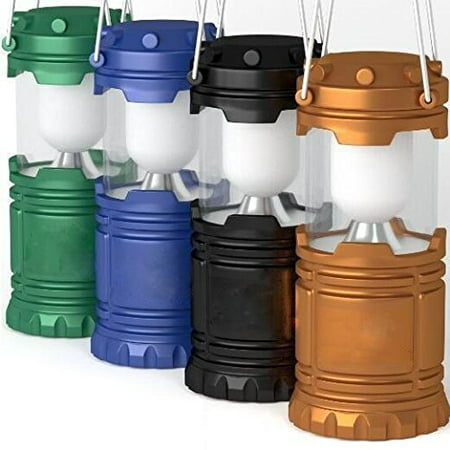 Elegantoss Outdoor LED Camping Lantern, set of 4 colors Black, Blue, Brown, Green Collapsible. Portable Great for Emergency, Tent Light, Backpacking (without Battery)