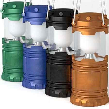 Elegantoss Outdoor LED Camping Lantern, set of 4 colors Black, Blue, Brown, Green Collapsible. Portable Great for Emergency, Tent Light, Backpacking (without -