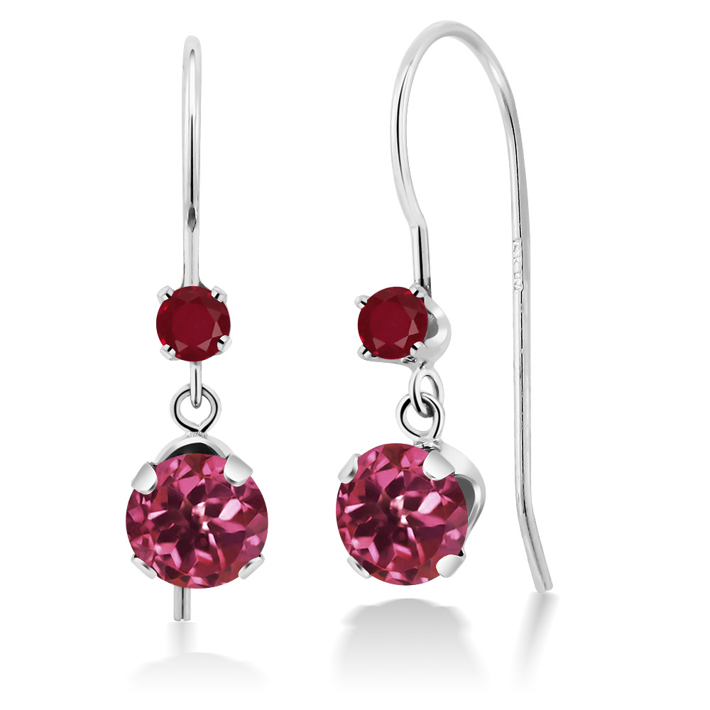 1.24 Ct Round Pink Tourmaline Red Ruby 14K White Gold Earrings by