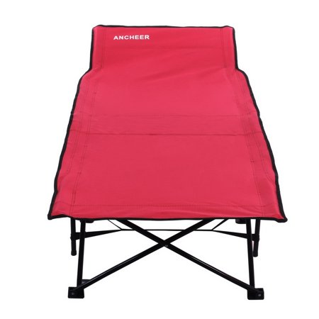 Portable Folding Camping Bed and Cot, Red With Carry Bag BYE