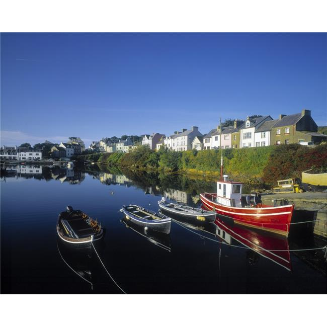 Boats Moored At A Harbor Roundstone Harbor Connemara County Galway Republic of Ireland Poster Print by The Irish Image Collection, 16 x 12 - image 1 de 1