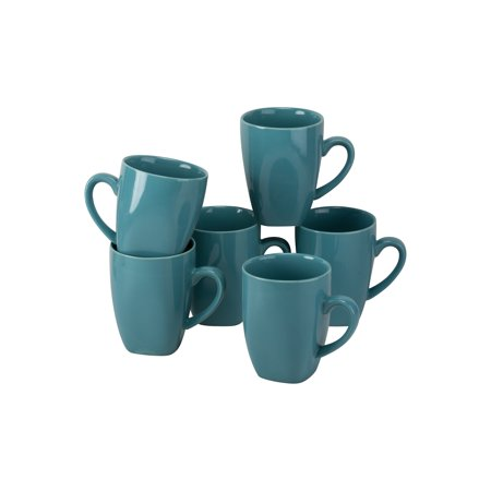 Street Sign Mug (10 Strawberry Street Nova Square 10 oz Mugs, Aqua, Set of 6 )