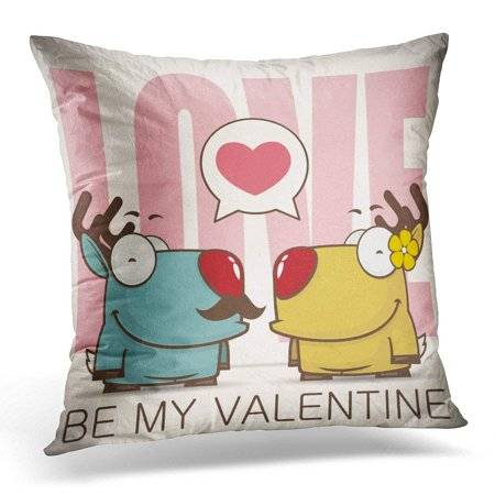 CMFUN Animal Valentine ′S Day with Cartoon Deer Characters Couple Pillow Case Pillow Cover 18x18 inch