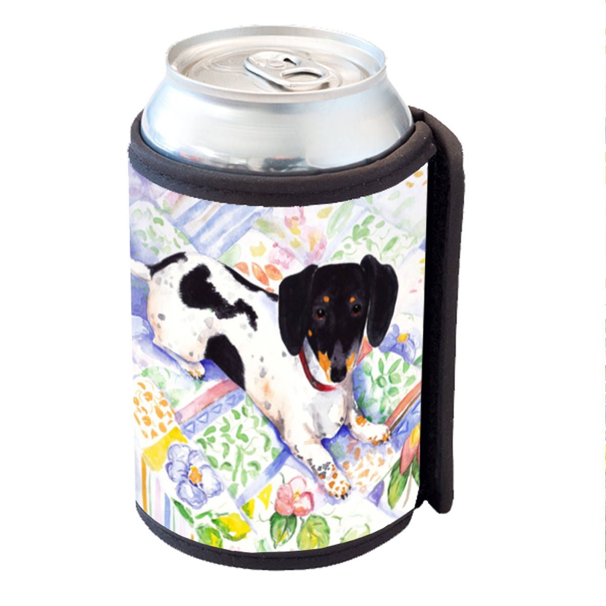 KuzmarK Insulated Drink Can Cooler Hugger - Tricolor Miniature Dachshund Art by Denise Every