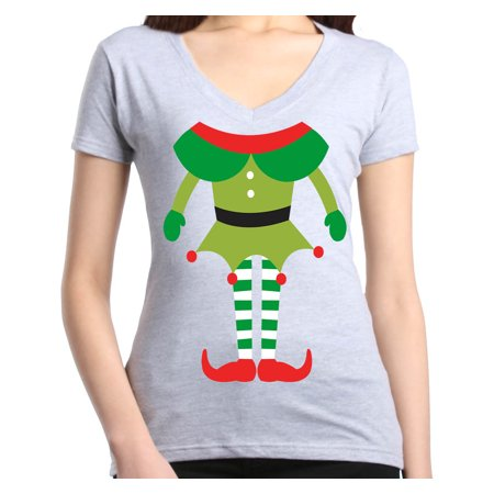 Shop4Ever Women's Elf Body Costume Funny Christmas Merry Xmas Slim Fit V-Neck T-Shirt