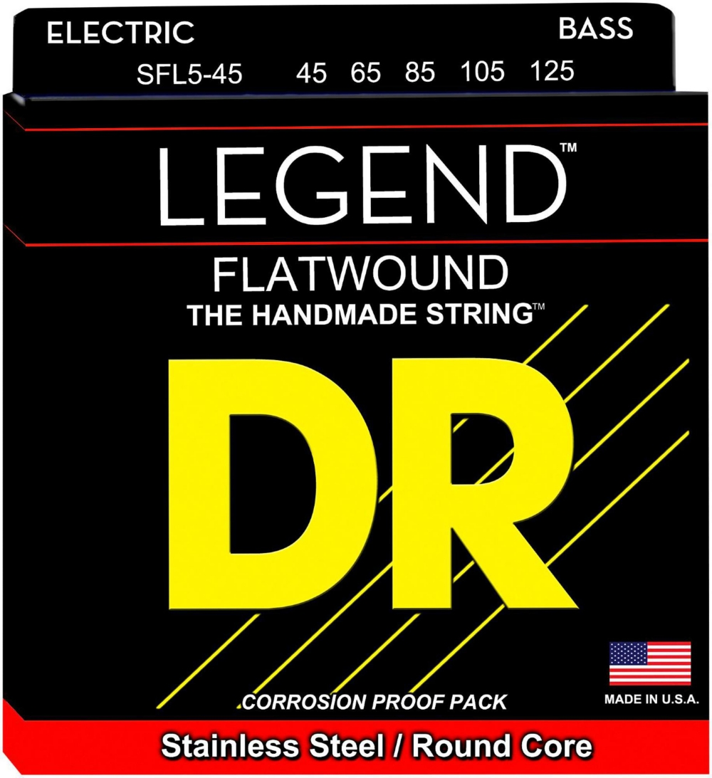 DR Strings Hi-BEAM FLATS Flatwound Stainless Steel Bass Strings Short Scale (45-105) by DR Strings