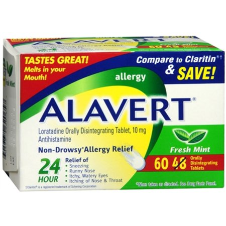2 Pack - Alavert 24 Hour Orally Disintegrating Tablets Fresh Mint 60