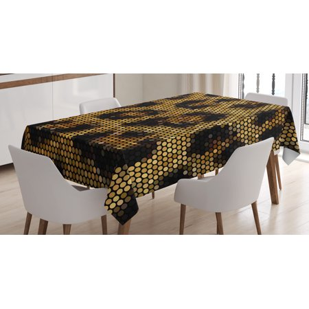 Psychedelic Tablecloth, Leopard Motif with Digital Dots and Trippy Forms African Graphic Art, Rectangular Table Cover for Dining Room Kitchen, 60 X 84 Inches, Apricot Dark Brown, by Ambesonne
