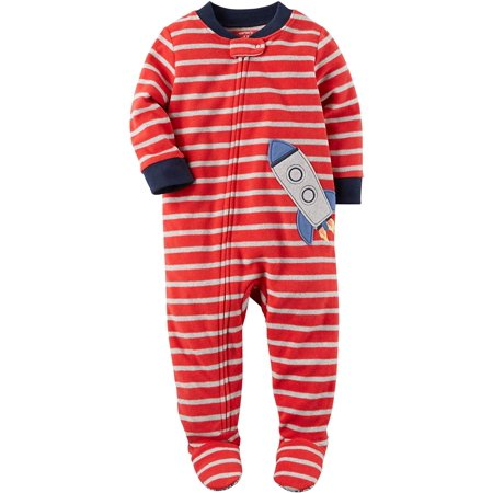 Carters Baby Boys Printed 1 Piece Fleece Footy Pajama (Red Stripe/Rocket, 5T)](Peace Fleece)