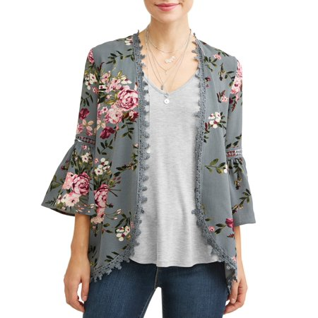 Women's 3fer Open Front Bell Sleeve Blouse with Tank and Necklace