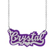 "Personalized Sterling Silver ""Tracey"" Purple Acrylic Name Necklace w/Beading on an 18"" Link chain"