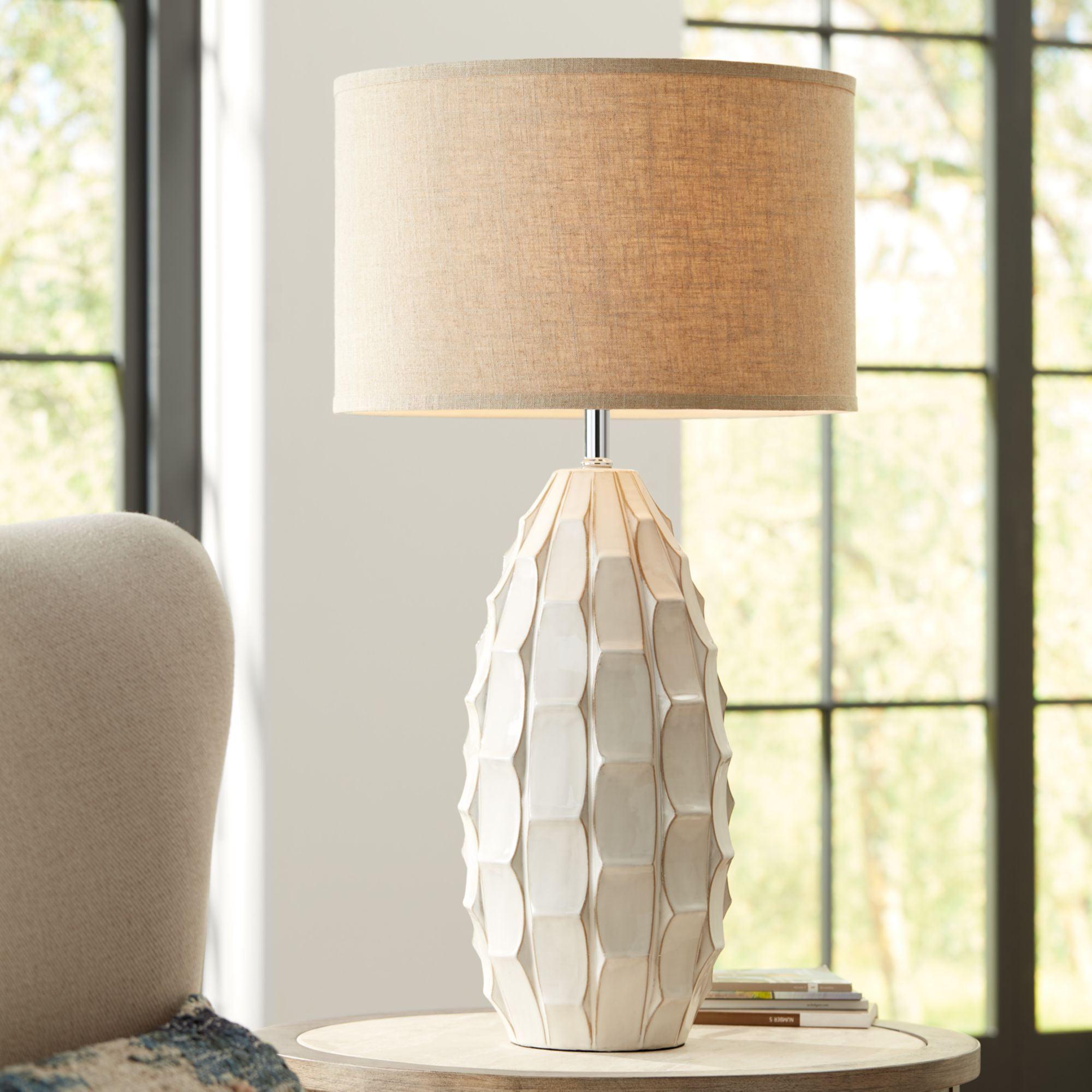 Possini Euro Design Mid Century Modern Table Lamp Ceramic White