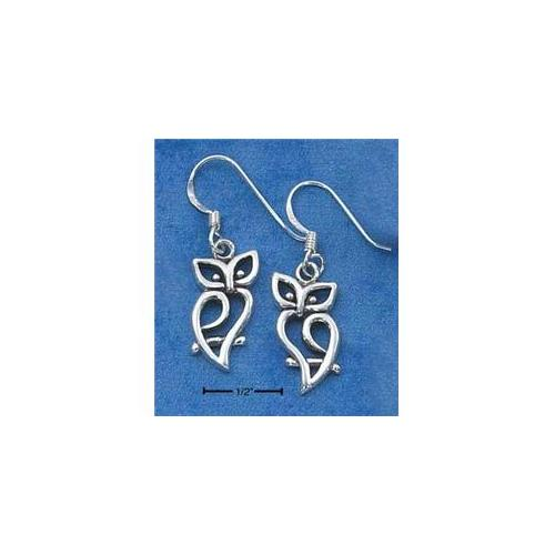 Sterling Silver Curved Silhouette Owl Earrings On French Wire S