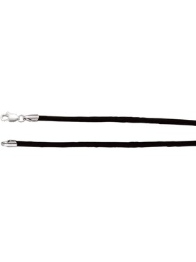 "Jewels By Lux 925 Stamped Sterling Silver 2mm Black Satin 16"" Cord"