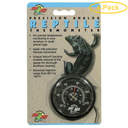 Reptile Relief (Zoo Med Precision Analog Reptile Thermometer Analog Reptile Thermometer - Pack of 4 )
