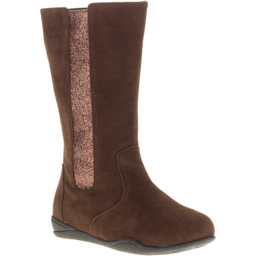 Josmo Girl's Faux Suede and Glitter Flat Boot