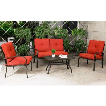 Cloud Mountain Garden Patio Conversation Set Cushioned Outdoor Furniture Wrought Iron Coffee Table Chair Sofa